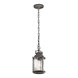 Small 1-Light Outdoor Chain Lantern, Weathered Zinc