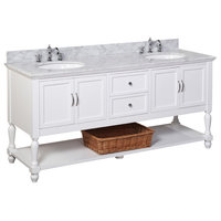 """Beverly 72"""" Double Bath Vanity With Carrara Top, White"""