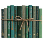 Booth & Williams - Modern Boxwood ColorPak - Take your design to a new level with the Modern Boxwood ColorPak from Booth & Williams. One linear foot of authentic modern hardback books in crisp, organic shades of medium and dark green.  All books are published 1980-present and include a variety of literary works, period novels and topical texts with light overall wear.  Contains 10-12 books with an average height of 8.5-9.5' and hand-wrapped in jute twine.  Order as many ColorPaks as you need to complete your project. Titles will differ from those pictured. Standing at the timeless intersection of vintage and vogue is Booth & Williams - proudly offering distinctive vintage and modern book decor to homeowners and designers! Shop our beautiful decorative books, including vintage coffee-table books, curated collections of old books and a large selection of modern book decor, including our best-selling Vintage and Modern ColorPaks and Book Walls!