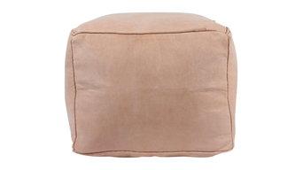 Moroccan Square Leather Pouf, Tan