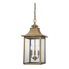 St. Charles Collection Hanging Lantern 3-Light Outdoor Light, Aged Brass