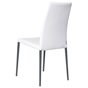 Vega Contemporary Leather Chair, White and Graphite
