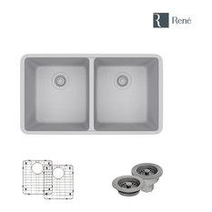 R3-1002-PWT Equal Double Bowl Composite Granite Sink, Pewter, Strainer/Flange