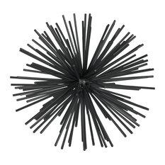 "Metal Sea Urchin Ornamental Sculpture, Black, 12"""