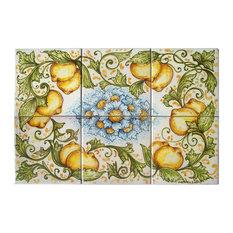 "Ghenos - laboratorio di ceramica artigianale - Decorative Ceramic Panel With Blue Flowers and Lemon Accents, 6 Tiles, 12""x18"" - Tile Murals"