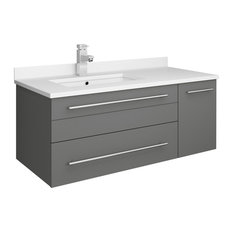 Lucera Wall Hung Bathroom Cabinet With Top And Undermount Sink Gray Left