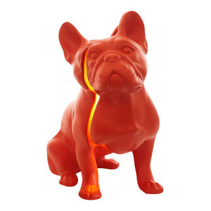 Toto Ceramic Bulldog Lamp, Red