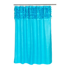 """Jasmine"" Fabric Shower Curtain in Cyan Blue"
