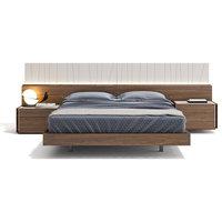 Porto Premium 3-Piece Bedroom Set, Light Grey and Walnut, King