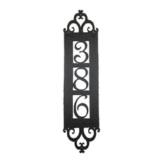 Spanish Style Hammered Iron Vertical Address Plaque 3 Number Apv13, #3 Black