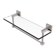 "Montero 16"" Glass Vanity Shelf with Integrated Towel Bar, Satin Nickel"