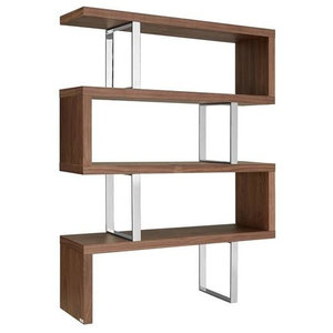 Eye-Catching Walnut, Stainless Steel Bookcase Made To Last