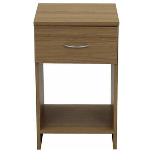 Modern 1-Drawer Bedside Table With Plastic Runners and Handle, Oak