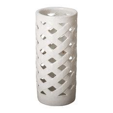 Criss Cross White Ceramic Umbrella Stand