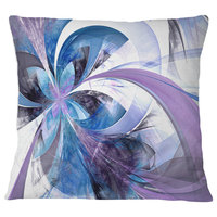 "Symmetrical Fractal Flower in Blue Floral Throw Pillow, 18""x18"""