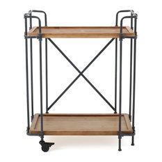 Samara Outdoor Industrial Bar Cart, Natural and Black