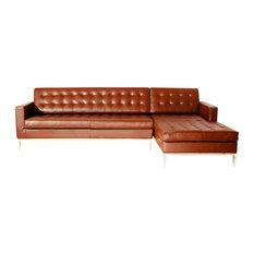 Karl Midcentury Floine Premium Aniline Leather Sectional Caramel Right Sofas