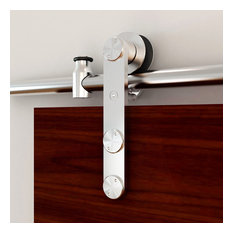 """Stainless Steel Stick Style Rolling Door Hardware Kit For Wood/Glass, 96"""""""