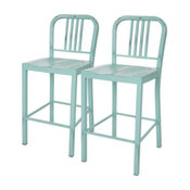 Vintage Style Metal Counter Stools, Set of 2, Mint Green