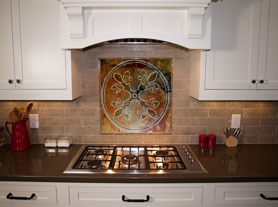 Kitchen Backsplash Tile - Fleur De Lis Tile - Installed