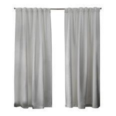 Sateen Blackout Hidden Tab Window Curtain Panel Pair, 52x84, Vanilla