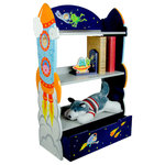 Fantasy Fields - Outer Space Kids Handcrafted Wooden Bookcase With Drawer - Go further than any astronaut has ever gone, into your deepest dreams and imagination with the Outer Space Bookshelf. Hand-painted and hand-carved rocket ships adorn the sides of the bookshelf, and vivid astronauts and aliens decorate the deep blue background. Three levels of shelves make for the perfect place to store books and a drawer below offers ample storage space for additional belongings.