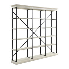 Industrial Bookshelf, Black Finished Frame With X-Back Support and 5 Tiers, Whit