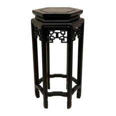 Hexagon Plant Stand in Dark Rosewood Finish, 36 in. High