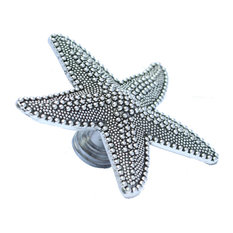Beach House Starfish Drawer Knobs - Nautical Cabinet Knobs, Silver