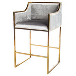 """Statements by J - Erin 28"""" Bar Chair, Gold - Seat height: 28 """"This modern bar chair features a solid chrome frame and a gray velvet upholstery. The perfect chair for a glamorous host and hostess. Dress up your kitchen or bar area with this chic and sophisticated  chair."""