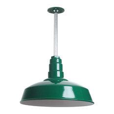 "Barn Lighting 16"" Pendant With Rigid Stem, Green"
