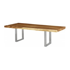 96-inch L Modern Dining Table Solid Natural Acacia Wood Brushed Stainless Steel