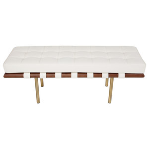 Excellent Large 60 Inch Modern White Leather Bench Contemporary Ocoug Best Dining Table And Chair Ideas Images Ocougorg