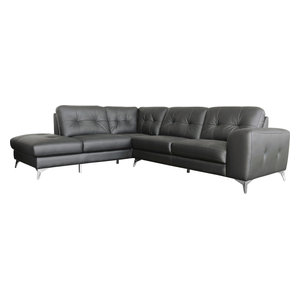 Harlow Leather Sectional Left Gray Light Gray
