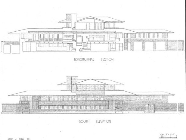 Modern homes the robie house on robie house plan section elevation