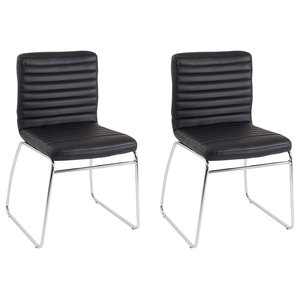 Contemporary Stacking Chairs Upholstered, Faux Leather, Black, Set of 2