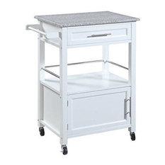 Linon Mitchell Wood Granite Top Kitchen Cart in White
