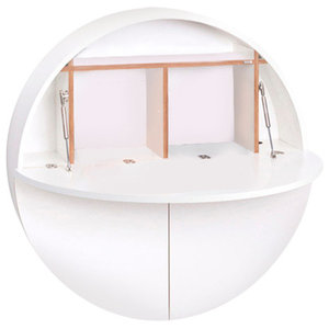 Multifunctional Pill Fold-Out Convertible Wall-Mounted Desk, White