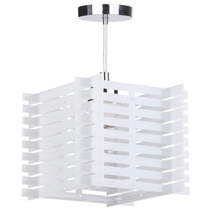 1 Light Slatted Acrylic Ceiling Pendant, White