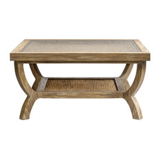 Eco Friendly Woven Water Hyacinth Coffee Table, Shelf Glass Light Wood Square