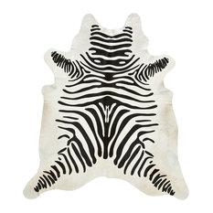 Black Zebra Stencil, Off White Cowhide