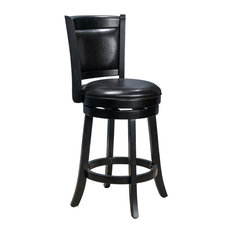 GDF Studio Davis Black Bonded Leather Swivel Backed Counter Stool