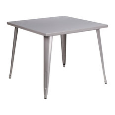 35.5-inch Square Silver Metal Indoor Outdoor Table