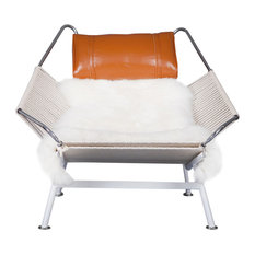 Flag Halyard Chair,  Rope and Leather, Beige/Caramel