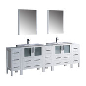 """96"""" White Double Sink Bathroom Vanity, 3 Side Cabinets and Integrated Sinks"""