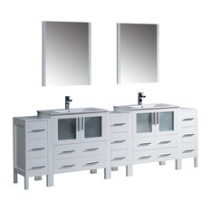 "96"" White Double Sink Bathroom Vanity, 3 Side Cabinets and Integrated Sinks"