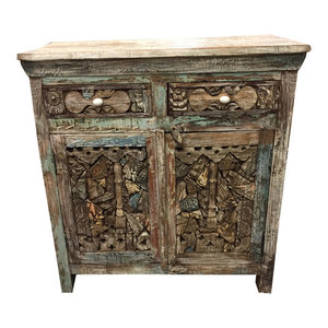 Mogul Interior - Consigned Antique Media Sideboard Console Buffet Ink Block Wooden Storage Chest - Buffets And Sideboards