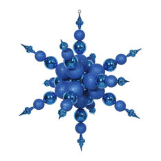 "Vickerman 39"" Radical Snowflake Ornament Shiny/Glitt, Blue"