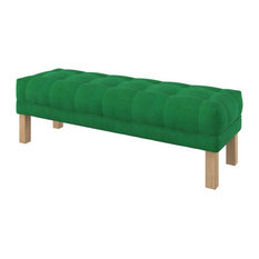 Majestic Button Tufted Velvet Bench, Green, Large