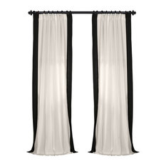 "Vertical Colorblock Panama Single Panel Curtain, Black, 50""x96"""